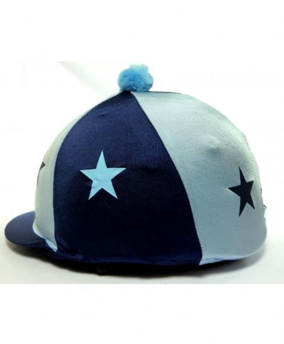 Capz Lycra Star Hat Cover with Pom Pom in Navy/Pale Blue